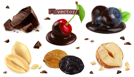 Berries, nuts and chocolate. Blueberry, cherry, peanut, hazel, raisin, 3d vector set Illustration