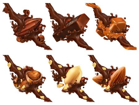 Tablette de chocolat, noix, caramel, fève de cacao en éclaboussures de chocolat Vecteurs