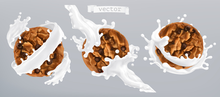 Chocolate cookies and milk splash. 3d realistic vector icon