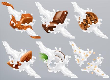 Chocolate, caramel, coconut, almond, biscuit, oats in milk splash. Yogurt 3d realistic vector Illustration