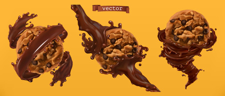 Cookies and chocolate splashes. 3d realistic vector Ilustrace