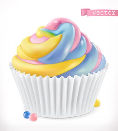 Cupcake, fairy cake. 3d realistic vector icon
