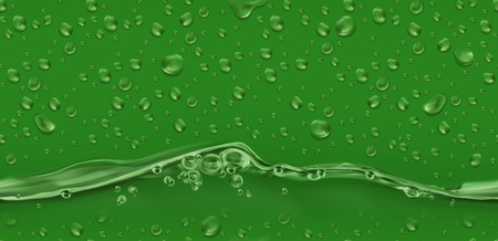 Drops. Green seamless pattern. 3d realistic vector
