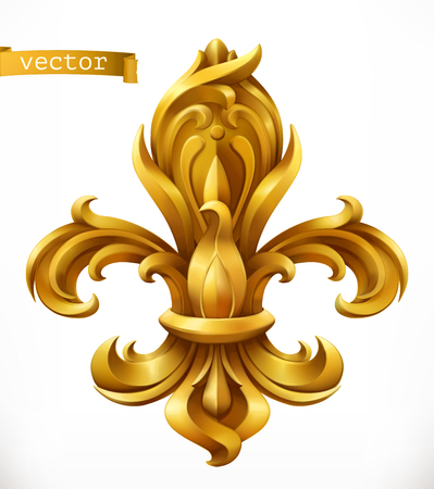 Fleur-de-lis, stylized lily gold emblem.