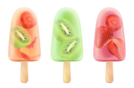 Fruit ice cream strawberry, kiwi, peach. 3d realistic vector icon set