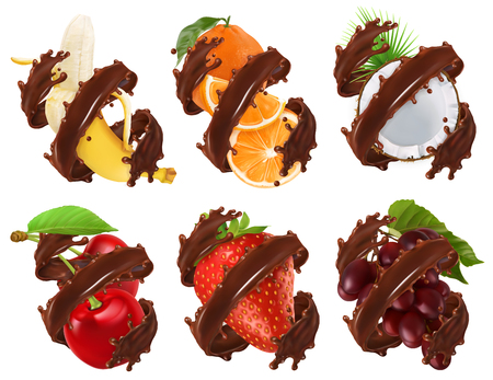 Fruits and berries in chocolate splash. Banana, orange, coconut, cherry, strawberry, grapes 3d realistic vector