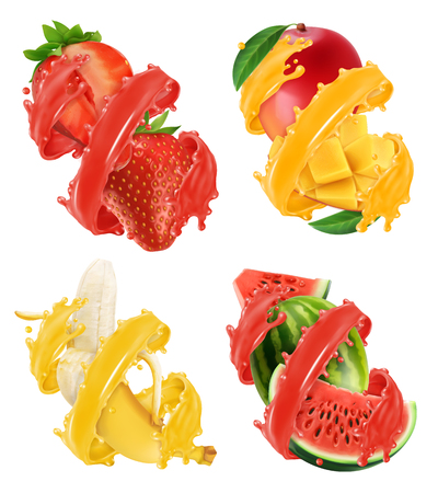 Fruits and berries in splash of juice. Illustration