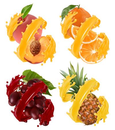 Fruits and berries in splash of juice. Orange, pineapple, grapes, peach. 3d realistic vector Çizim
