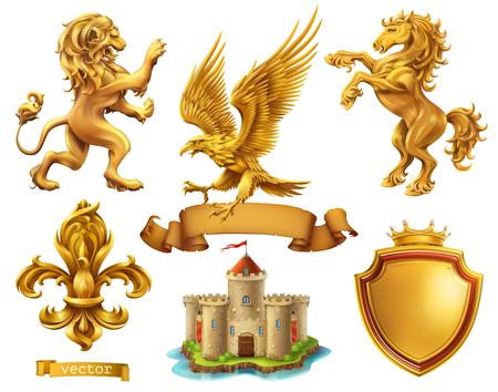 León, caballo, águila, lirio. Elementos heráldicos dorados. Ilustración de vector