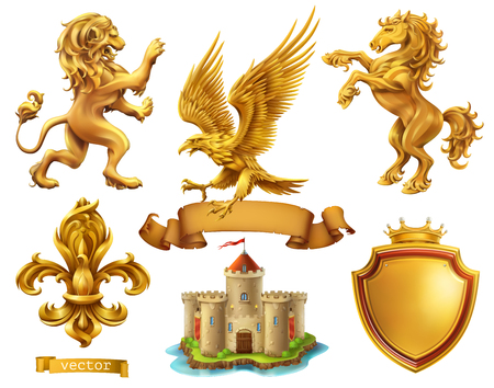 Lion, horse, eagle, lily. Golden heraldic elements.