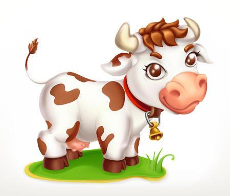 Little Cow, funny character. 3d vector icon
