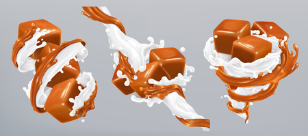Milk and caramel splashes, 3d realistic vector