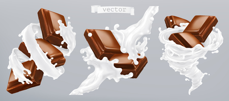 Milk and chocolate, 3d realistic vector icon