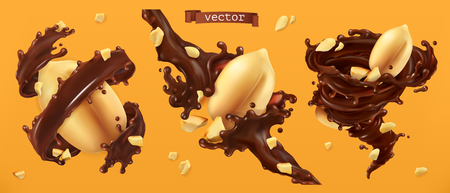 Peanut nuts and chocolate splashes. 3d realistic vector