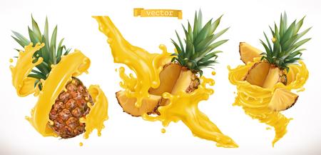 Pineapple juice. Fresh fruit 3d realistic vector icon Çizim