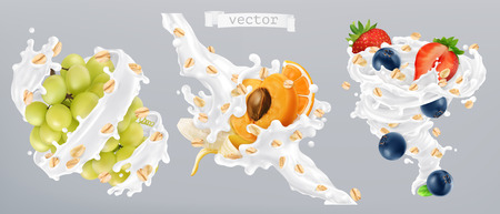 Rolled oats, fruits and milk splashes. 3d realistic vector icon