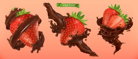 Éclaboussures de fraises et de chocolat. vecteur réaliste 3D