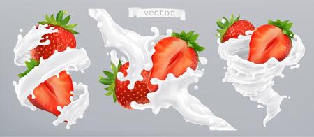 Fragola e spruzzi di latte, yogurt. Icona di vettore realistico 3D