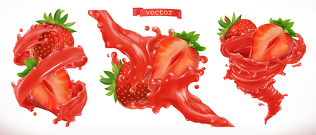 Strawberry juice. Fresh fruit 3d realistic vector icon