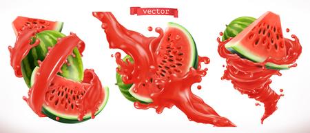 Watermelon juice. Fresh fruit 3d realistic vector icon