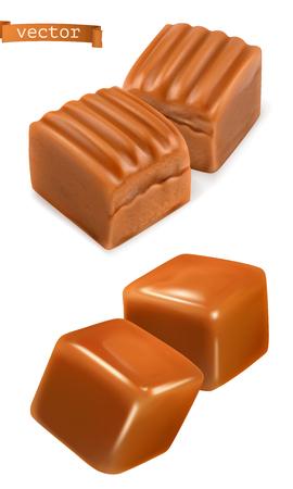 Caramel candies 3d vector Illustration