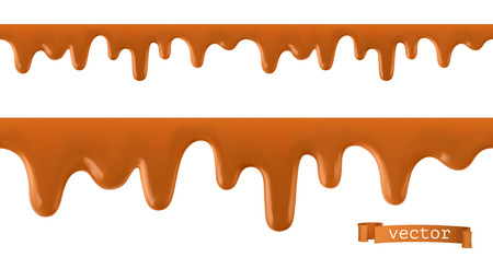 Karamell fließt. Nahtloses Muster. 3D-Vektor Vektorgrafik