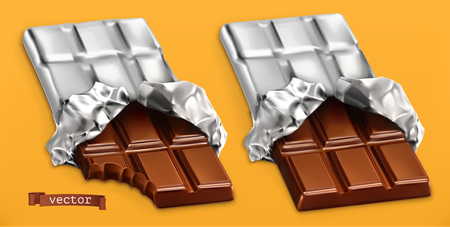 Chocolate bars, 3d realistic vector