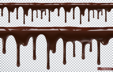Dripping chocolate. Melt drip. 3d realistic vector, seamless pattern