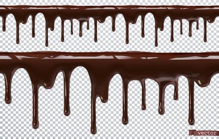 Tropfende Schokolade. Schmelze tropfen. 3D realistischer Vektor, nahtloses Muster Vektorgrafik