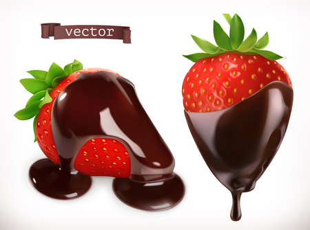 Strawberry in chocolate. 3d realistic vector icon  イラスト・ベクター素材