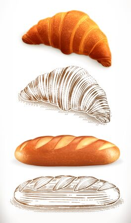 Bread. Croissant, loaf. 3d realism and engraving styles. Vector illustration