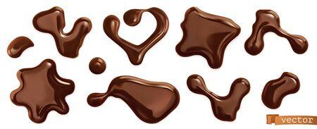 Chocolate drops. 3d realistic vector set 일러스트