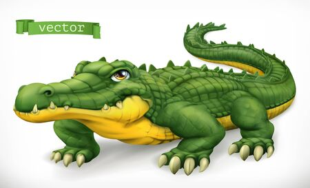 Crocodile, alligator. Funny character. Animal 3d vector icon Иллюстрация