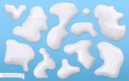 Milk drops on blue
