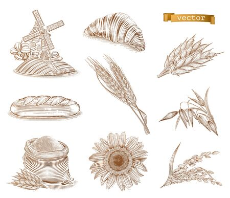 Mill, bread and wheat. Old style. Engraving vector icon set