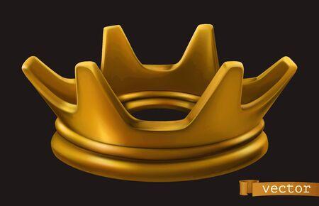 Old golden crown on black