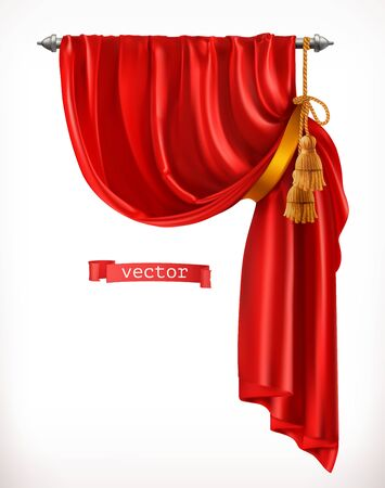 Theater. Red curtain. 3d realistic vector