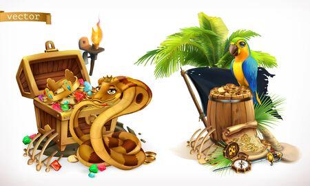 Treasure hunt and adventure. Stock Illustratie