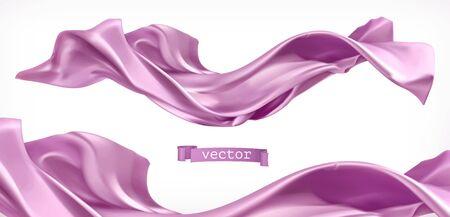 Violet curtain. Fabric 3d realistic vector 일러스트