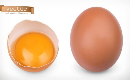 Whole chicken egg and broken egg with yolk. 3d realistic vector icon set 일러스트