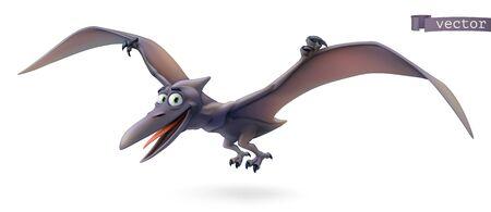 Pterodactyl. Pterosaur, flying dinosaur cartoon character. Funny animal 3d vector icon