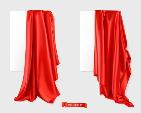 Red curtain vectorized image. Drapery fabric. 3d realistic vector 일러스트