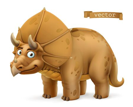 Triceratops, ceratopsid dinosaur cartoon character. Funny animal 3d vector icon