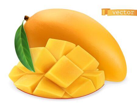 Yellow mango. Fresh fruit. 3d realistic vector icon