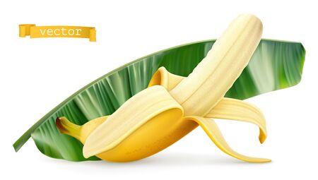 Banana on green leaf. Fresh fruit. 3d realistic vector icon 일러스트