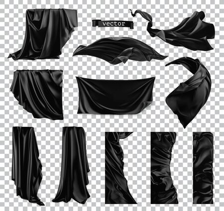 Black curtain vectorized image. Drapery fabric 3d realistic vector set Illusztráció