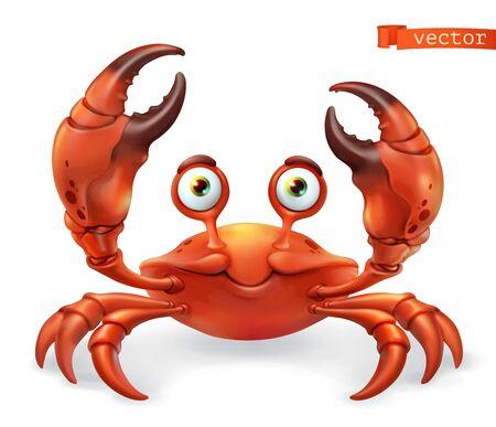 Crab cartoon character. Funny animal 3d vector icon 일러스트
