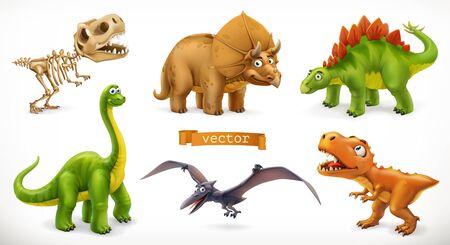 Dinosaurs cartoon character. Brachiosaurus, pterodactyl, tyrannosaurus rex, dinosaur skeleton, triceratops, stegosaurus. Funny animal 3d vector icon set 일러스트