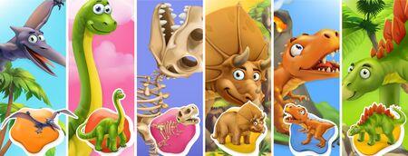 Dinosaurs cartoon character. Brachiosaurus, pterodactyl, tyrannosaurus rex, dinosaur skeleton, triceratops, stegosaurus. Funny animals 3d vector icon set 일러스트