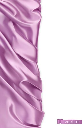 Drapery fabric. Violet curtain. 3d realistic vector. Vertical banner 일러스트